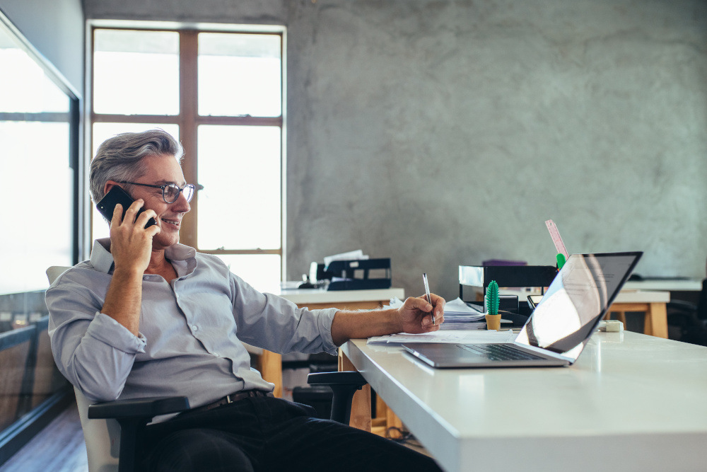 businessman on the phone, phone meeting