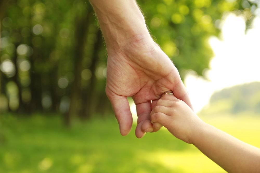 child custody, parent and child holding hands