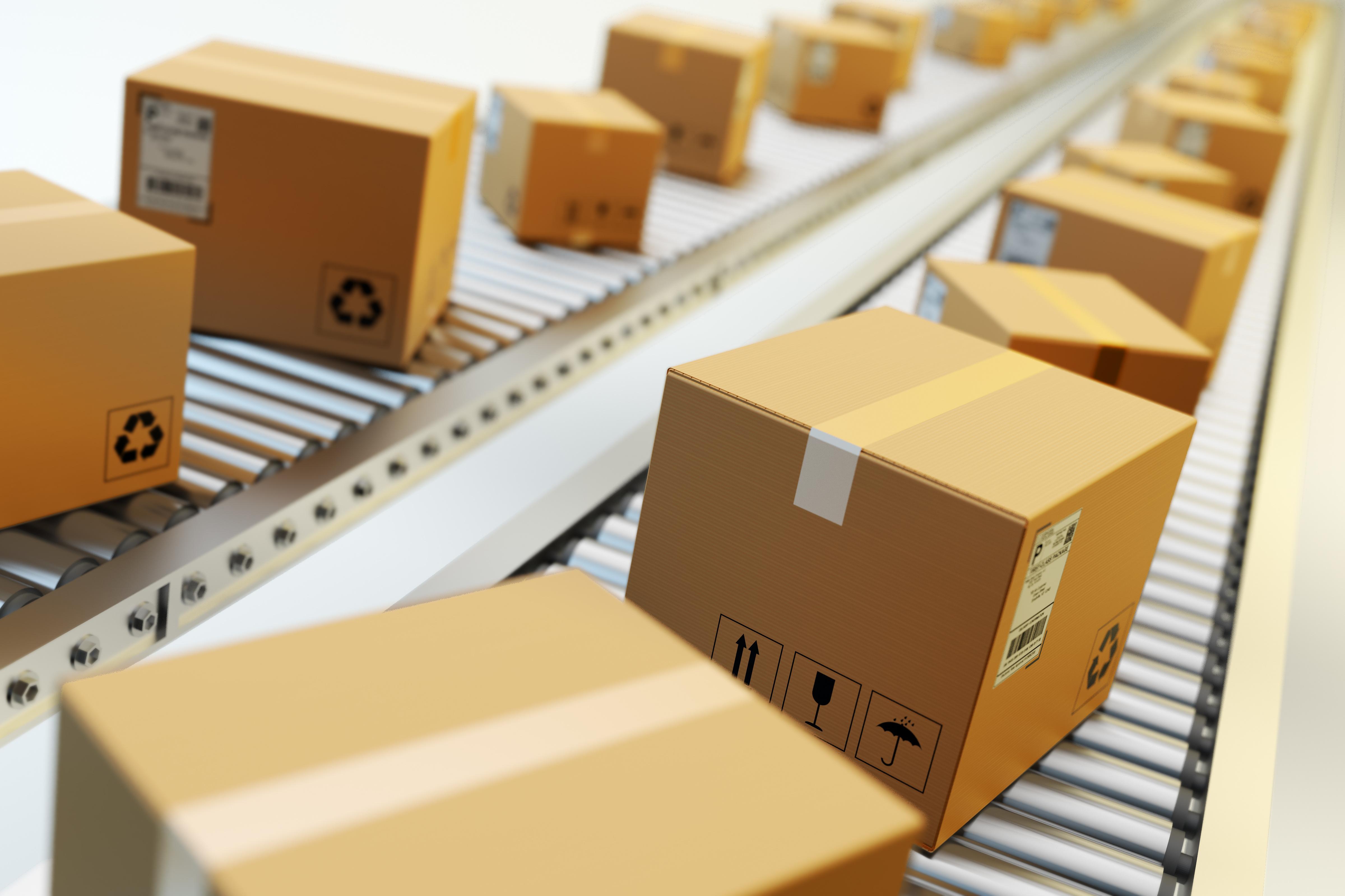 ecommerce boxes on conveyor belt