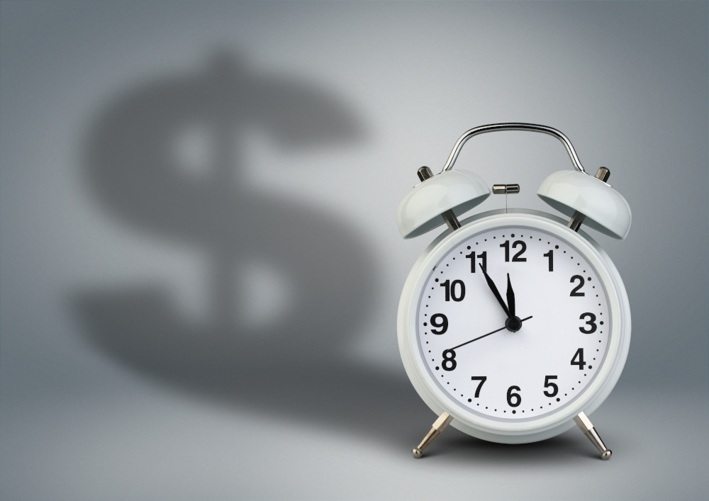 time is money clock with money shadow