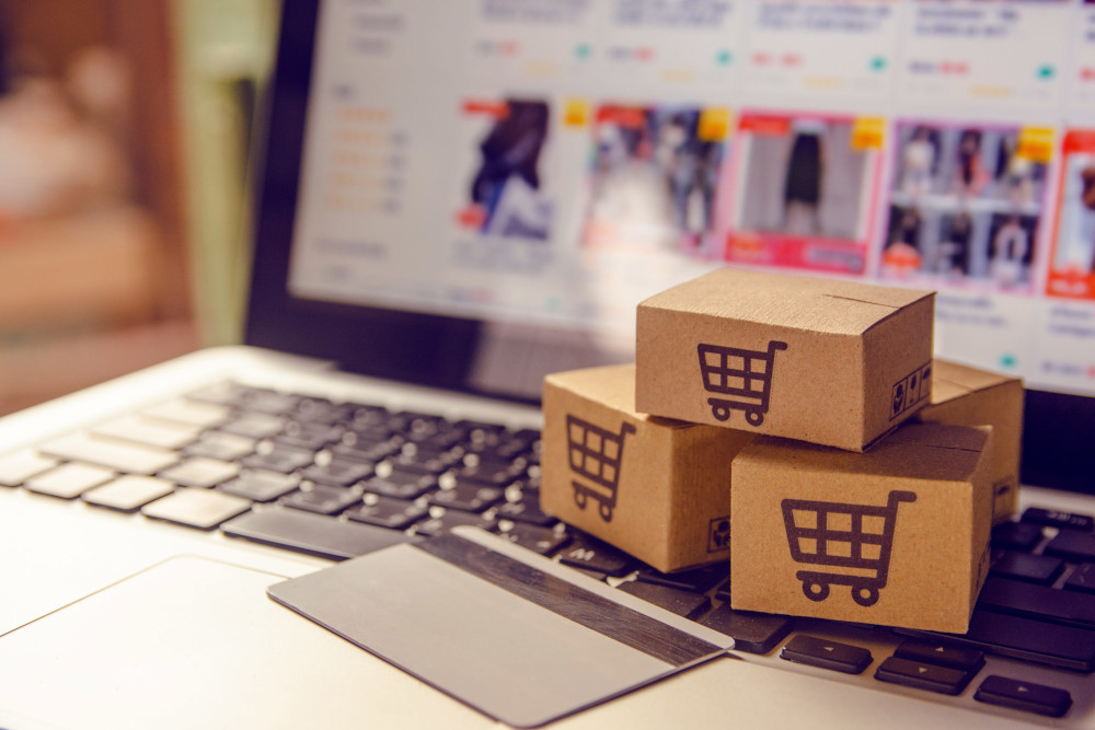 ecommerce boxes on computer