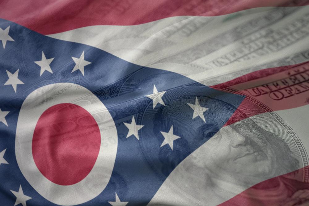 ohio flag with money, ohio economy