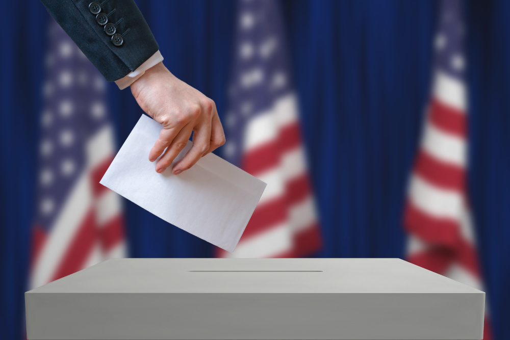 ballot with american flag