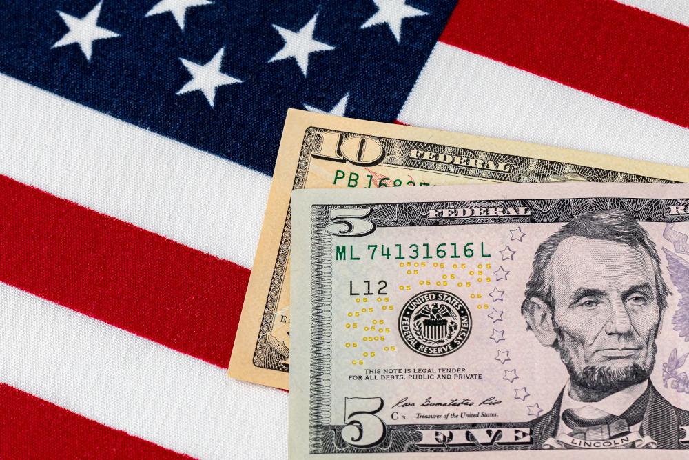 money on american flag. $15