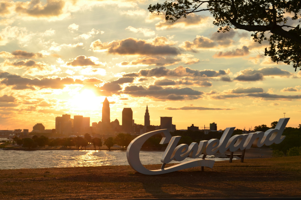Cleveland city skyline and sign